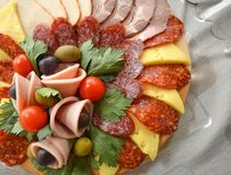 Well decorated food, canapes, cold,cuts, buffet Stock Images