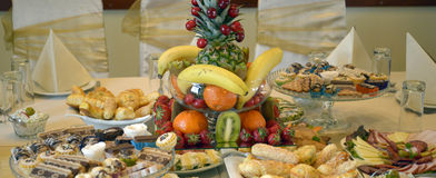 Well decorated food  on a table Royalty Free Stock Image
