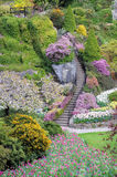 well decorated stairs in a garden stock images
