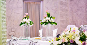 well decorated table of a bride and groom Stock Image