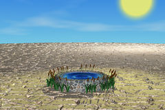 Well in desert. 3D model well in desert Vector Illustration