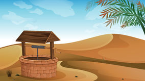 A well at the desert. Illustration of a well at the desert Stock Image