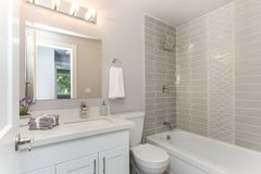 Well designed bathroom with mosaic tiled wall. Well designed bathroom interior with mosaic tiled wall stock photo