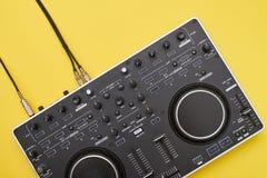 Well-designed DJ mixer, flat lay stock photos