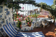 Well designed terrace with flowers Stock Image