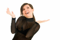 Well done. Young woman shows ecstasy to something on white background Stock Images