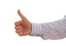 Well done. Thumbs up on a white background Royalty Free Stock Images