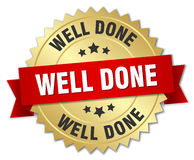 Well done 3d gold badge. With red ribbon Stock Images