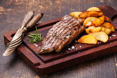 Well done New York steak Stock Images
