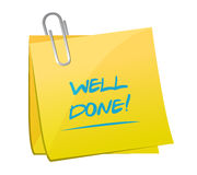 Well done post it illustration design Stock Photo
