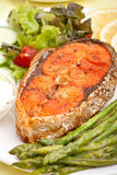 Well Done Salmon with Asparagus Royalty Free Stock Photography