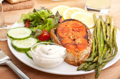 Well Done Salmon with Asparagus Stock Photography