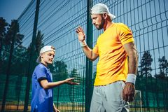 Serene male and boy gesticulating hands royalty free stock photos
