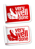 Well done stickers. Royalty Free Stock Photo