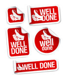 Well done stickers set. Stock Photo