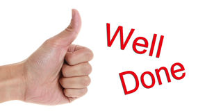 Well Done. Thumb up and well done isolated in solid white background stock image