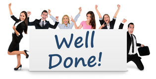Well done word on banner Royalty Free Stock Photo