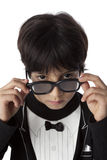 Well dressed eight year old boy with sunglasses Stock Images