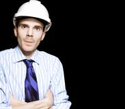Well Dressed Engineer Isolated On Black Background Royalty Free Stock Photo