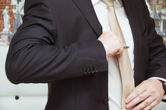 Well dressed  man adjusting his neck tie Royalty Free Stock Photography
