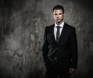 Well-dressed man in black suit stock photos