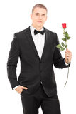 Well dressed man holding a red rose Stock Photo