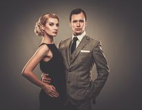 Well-dressed retro couple Royalty Free Stock Photo