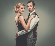 Well-dressed retro style couple Stock Photo