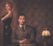 Well-dressed retro style couple Royalty Free Stock Image