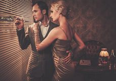 Well-dressed retro style couple Royalty Free Stock Photo