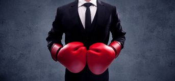 Boxing businessman Royalty Free Stock Photos