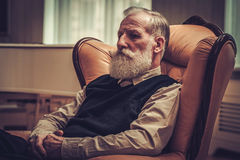 Well-dressed senior man in luxury interior Stock Photos