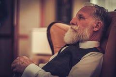 Well-dressed senior man in luxury interior Royalty Free Stock Image
