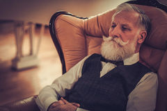 Well-dressed senior man in luxury interior Stock Photography