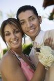 Well-dressed teenage couple outside school dance Stock Photos