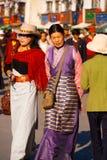 Well-Dressed Tibetan Women Barkhor Walking Royalty Free Stock Image