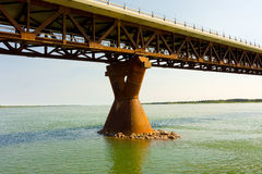 A well-engineered bridge over the mackenzie river Stock Photos