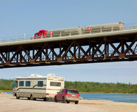 A well-engineered bridge over the mackenzie river Stock Images