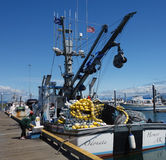 A well-equipped fishing boat at Homer. The motor vessel odatna getting ready to sail Royalty Free Stock Photos