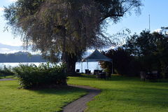 Well-equipped meadow on the shore of of Lake Lucerne.  Stock Photos