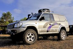 A well-equipped Toyota all-terrain. Vehicle at sunset Stock Images