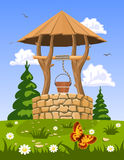 Well of fresh natural water stock illustration