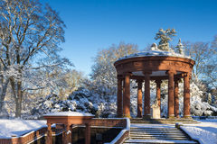 Well of the Goddess Hygeia in the winter stock photography