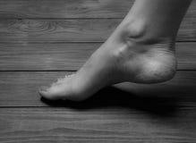 Well-groomed female feet on wooden floor Royalty Free Stock Photo
