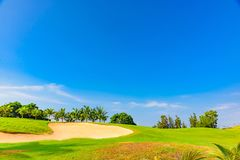 Well-groomed field lawn green grass playing golf. Well-groomed field lawn green grass for playing golf stock photo
