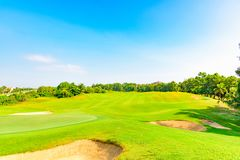 Well-groomed field lawn green grass playing golf. Well-groomed field lawn green grass for playing golf stock image
