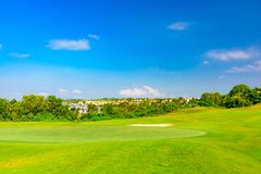 Well-groomed field lawn green grass playing golf. Well-groomed field lawn green grass for playing golf stock images