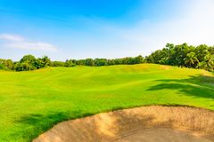 Well-groomed field lawn green grass playing golf. Well-groomed field lawn green grass for playing golf royalty free stock images