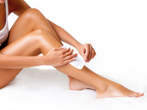 Well-groomed Woman Legs After Depilation Isolated on White Royalty Free Stock Photography