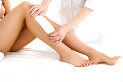 Well-groomed Woman Legs After Depilation Isolated on White royalty free stock images